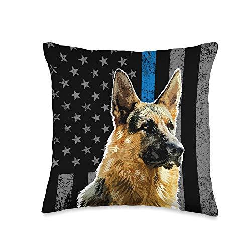 Patriotic German Shepherd Throw PIllows Thin Blue Line German Shepherd American Flag K-9 Police Gift Throw Pillow, 16x16, Multicolor