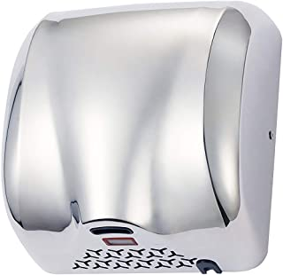 PowerPress AHD-2017-01-K TCBunny Super Quiet Automatic Electric Hand Dryer Commercial High Speed 90m/s, Silver, Instant Heat & Dry, K2017