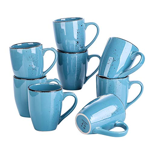 vancasso Serie Navia Oceano Tazas de Desayuno 8 Piezas, Juego de Tazas de Café, Leche, 350ml Gres Auzl Marino Retro