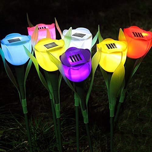 Prosperveil - Lote de 6 luces solares de jardín, tulipanes LED, forma de flores, para exteriores, impermeables, para exteriores, para paisaje, patio, valla, patio, iluminación