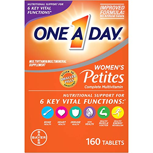 One A Day Women's Petites Multivitamin Supplement with Vitamin A  Vitamin C  Vitamin D  Vitamin E and Zinc for Immune Health Support  B Vitamins  Biotin  Folate (as folic acid) & more  160 count