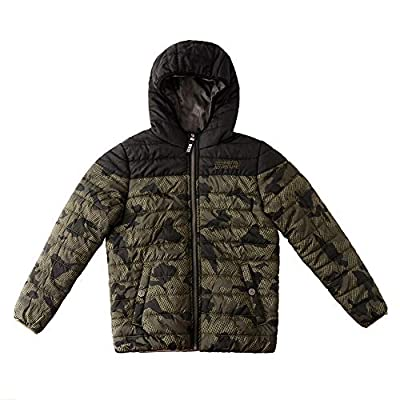 SNOW DREAMS Boys Winter Coat Camo Puffer Active jacket Quilted Hooded Waterproof Outerwear Army Green Size 7