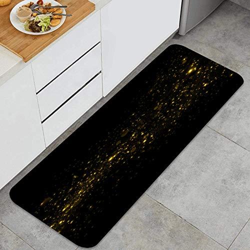 YANAIX Juegos de alfombras de Cocina Multiusos,Fondo Dorado Brillante Brillo,Alfombrillas cómodas para Uso en el Piso de Cocina súper absorbentes y Antideslizantes