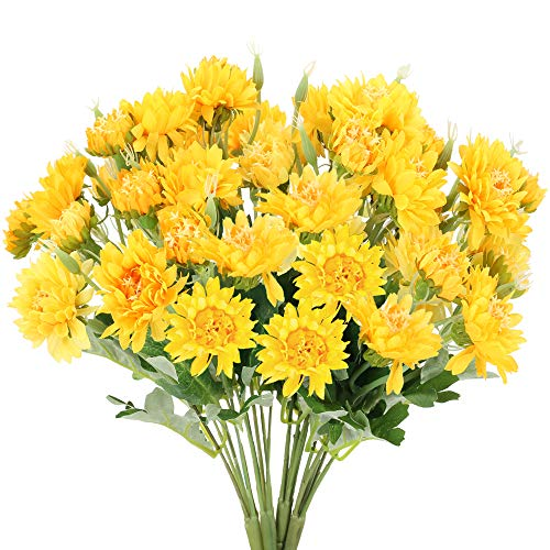 NAHUAA 4PCS Flores Artificiales Ramo de Crisantemo de Seda Decoraciones Flor Falsa para Casa Mesa de...