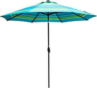 Abba Patio Outdoor Umbrella 11-Feet Table Umbrella with Push Button Tilt and Crank Lift, Turquoise Striped