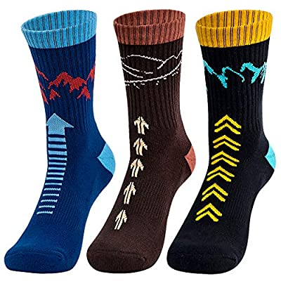 "Time May Tell Mens Hiking Socks Moisture Wicking Cushion Crew Socks for Terkking,Outdoor Sports,Performance 3 pack (Black,Brown 6""-9"")"