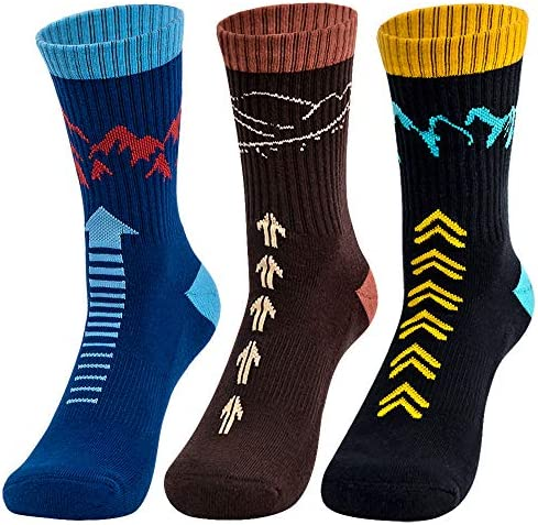 Time May Tell Mens Hiking Socks Moisture Wicking Cushion Crew Socks for Terkking Outdoor Sports product image