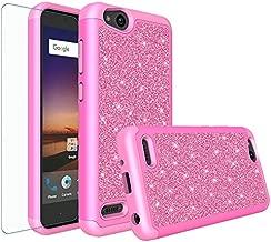 Galaxy Wireless Compatible for ZTE ZFive G LTE Z557BL/ZTE ZFive C Z558VL/ZTE Avid 4/ZTE Fanfare 3/ZTE Blade Vantage/Tempo X/Tempo Go,Glitter Bling Hybrid [Screen Protector] Phone Case Cover - Hot Pink