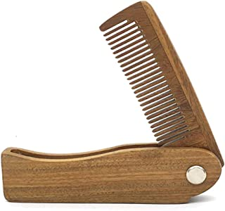 Bekith Folding Wooden Comb - Pocket Sized, Durable, Anti-Static Beard Comb - Green Sandalwood Comb for Grooming & Combing Hair, Beards and Mustaches
