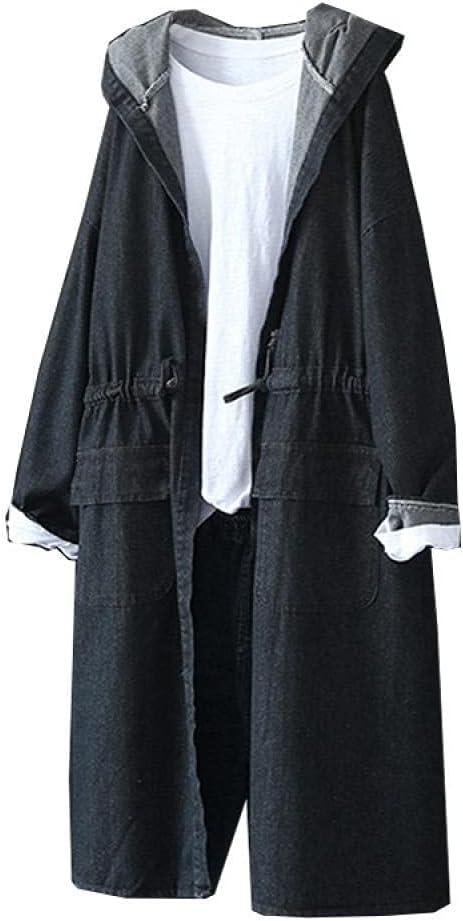 LYNLYN Jackets Women's Denim Windbreaker Casual Hooded Load Elastic Waist Ladies Retro Loose Long Denim Windbreaker Coats (Color : Black, Size : L)