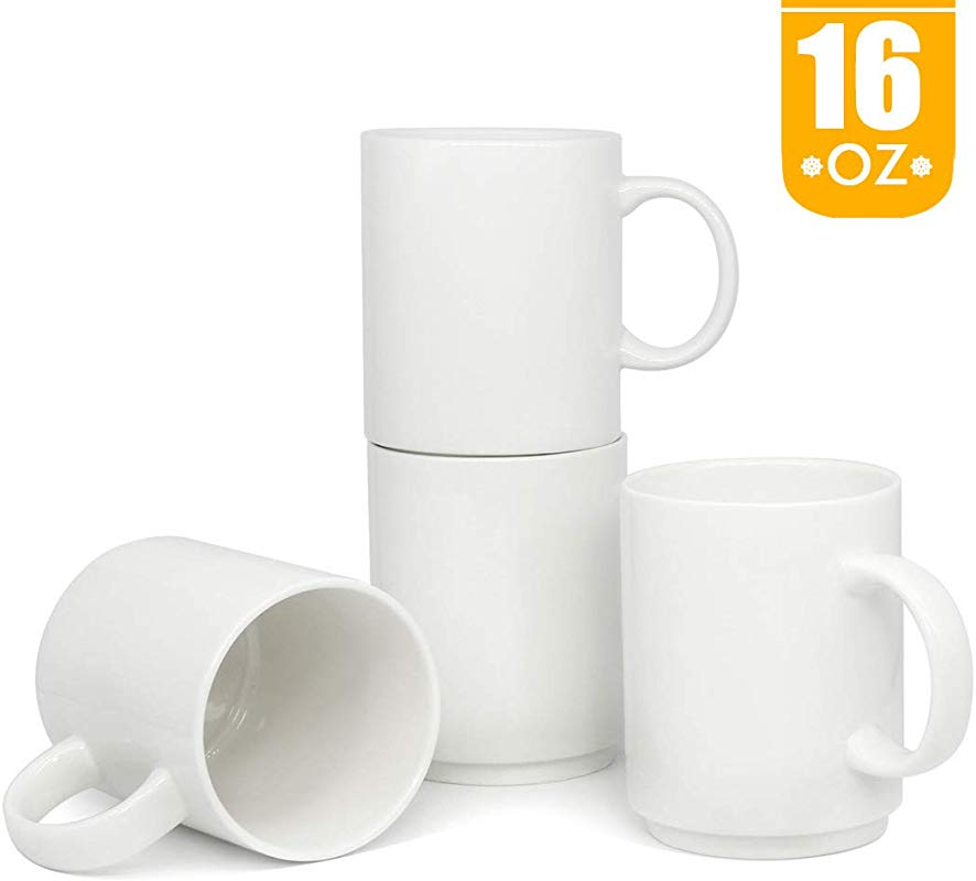 16 OZ Stackable Porcelain Coffee Mugs Smilatte M009 Blank Large Ceramic Cup With Handle For Tea Latte Cappuccino Set Of 4 White