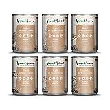 Venandi Animal Premium Nassfutter für Katzen, Probierpaket III, Huhn, Ente, Rind, Pferd, Kalb, Truthahn, 6 x 400 g, getreidefrei und naturbelassen, 2.4 kg