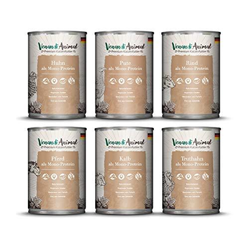 Venandi Animal Premium Nassfutter für Katzen, Probierpaket III, Huhn, Pute, Rind, Pferd, Kalb, Truthahn, 6 x 400 g, getreidefrei und naturbelassen, 2.4 kg