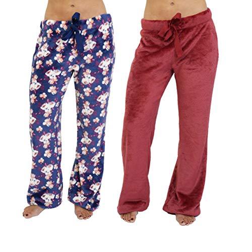 Cherokee Women's 2-Pack Fleece Plush Pajama Pants, Multi, XL