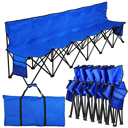YAHEETECH Lightweight Portable Folding Bench Folding Chair Camping Chair Outdoor Team Sport Bench 6 Seater Blue bleacher Chair Sideline Seats with Back, Sidebags, a Carry Bag