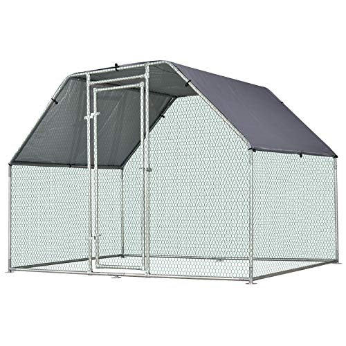 PawHut Galvanized Metal Chicken Coop Cage with Cover, Walk-in Pen Run, 9' W x 6' D x 6.5' H