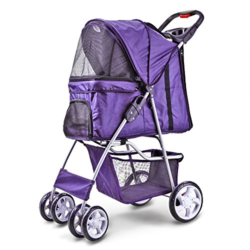 Flexzion Pet Stroller (Polka Dot Purple) Dog Cat Small Animals Carrier Cage 4 Wheels Folding Flexible Easy Carry for Jogger Jogging Walking Travel Up to 30 Pounds w/Sun Shade Cup Holder Mesh Window