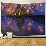 F-FUN SOUL Night Castle Tapestry, Large 80x60inchs Soft Flannel, Cartoon Castle Lantern Fuzzy Pattern Wall Hanging Tapestries for Bedroom Living Room Decor DSFS761