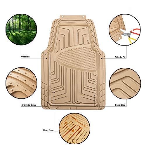 Amazon Basics Lot de 4tapis de sol en caoutchouc pour voitures, SUV et camionnettes Toutes saisons Beige