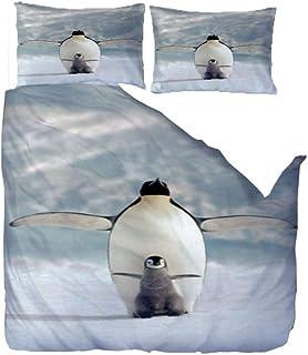 QLCUY King Size Juego De Cama Nórdico Pingüino Suave Funda Nórdica con Cierre De Cremallera +2 Fundas De Almohada (100% Súper Microfibra, King Size (W140 X L200Cm)