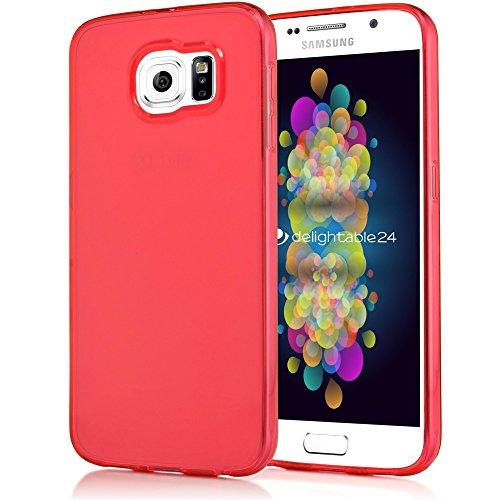 NALIA Custodia compatibile con Samsung Galaxy S7, Cover Protezione Ultra-Slim Case Protettiva Trasparente Telefono Cellulare in Silicone Gel, Gomma Clear Smartphone Bumper Sottile - Rosso
