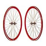 Juego Ruedas Bicicleta Fixie 700C Rojas/Set de Ruedas para Bicicletas Tipo Fixie en Color Rojas con CNC (Banda de...
