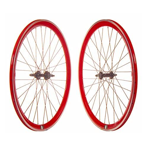 Juego Ruedas Bicicleta Fixie 700C Rojas/Set de Ruedas para Bicicletas Tipo Fixie en Color Rojas con CN
