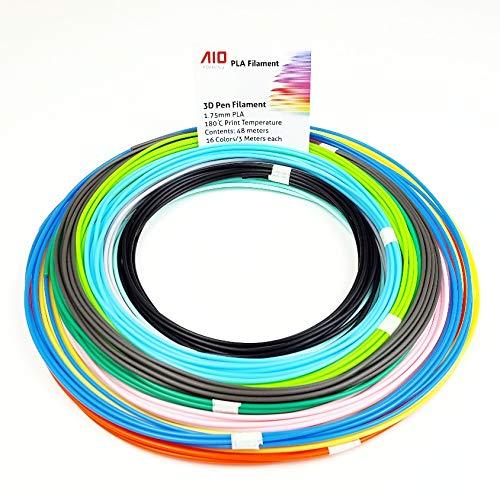 AIO Robotics filamento PLA premium per penne di stampa 3D, 16 colori, 3 metri per colore, diametro 1,75 mm
