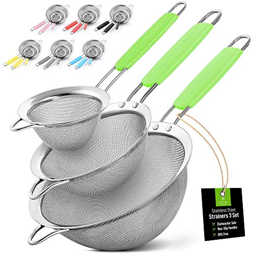"""Zulay Set of 3 Stainless Steel Mesh Strainer  Strainers Fine Mesh amp Wire Sieve with NonSlip Handles  Assorted Kitchen Strainer For Sifting Straining amp Draining 33"""" 55"""" 75"""" Sizes  Green"""