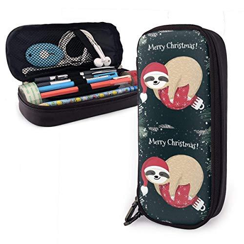 Leuke Baby Rode Kerstbal Lederen Potlood Case Rits Pen Bag Box Houder Studenten Grote Capaciteit Potlood