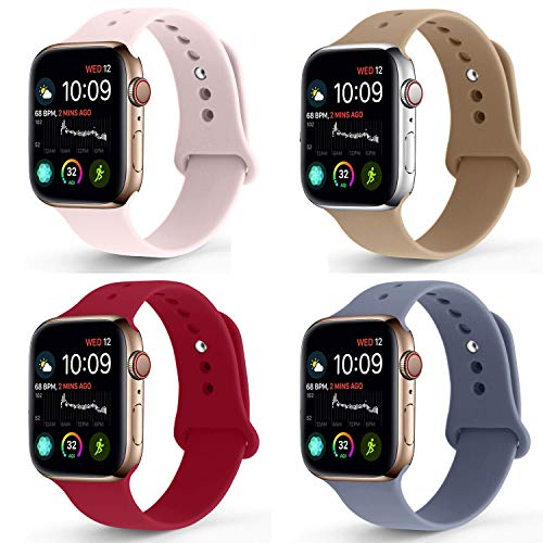 NUKELOLO Sport Band Compatible with Apple Watch 38MM 40MM, Soft Silicone Replacement Strap Compatible for Apple Watch Series 4/3/2/1 [S/M Size in Lavender Gray/Rose Red/Pink Sand/Walnut]