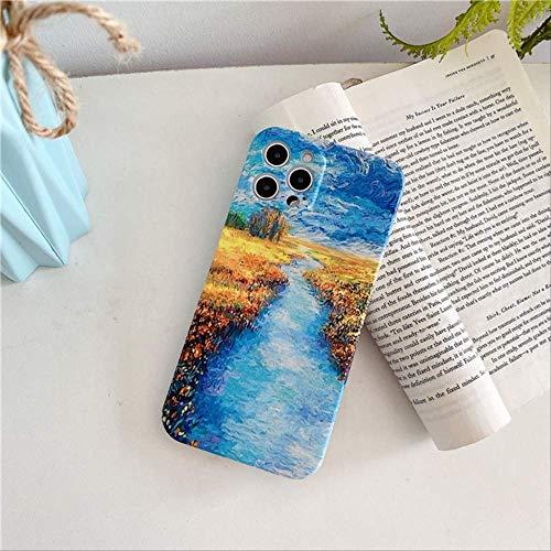 Estuche Mate Girasol Moda para iPhone 12 11 Pro MAX X XS XR 7 8 Plus SE 2020 12 Mini Estuche protección para cámara Pintura Paisaje para iPhone XS T2