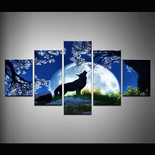 N / A 5 paneles lienzo pintura pared arte decoración del hogar luna azul noche negro lobo fotos para sala moderna HD impreso