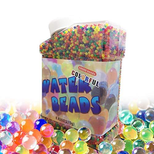 Meilo 50000 Stück Wassergel-Kugeln,Wasserperlen,Wasserperlen Mix Aquaperlen, Gel-Perlen für Vasen Dekoration, Blumen, Pflanzen, Hydrogel-Kugeln für Dekoration(Extra 5 Ballons) (transparent) (Beads)