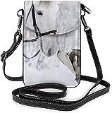 Moda Teléfono Celular Monedero Blanco Caballo Animal Pequeño Crossbody Bolsas Mujeres Niña Pu Bolso De Hombro Bolso
