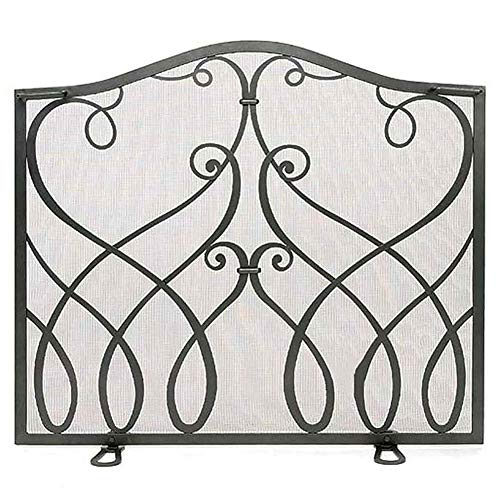 QAQA Black Iron Fireplace Screen Single Panel, Modern Room Screen Divider, Spark Guard Fire Pit Screens for Cats