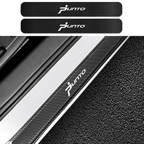 HUAQIEMI 4Pcs Carbon Fiber Placa de Decoración Estribos Desgaste Alféizar Puerta, para Fiat Punto Protector Umbral Pasos Pedal Coche Antiarañazos Accesorios