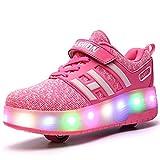 Bruce Wang Jungen Mädchen LED leuchten Doppelrad Roller Schuhe Draussen Sport AusbildungSkate-Turnschuhe (35 EU, Rosa)