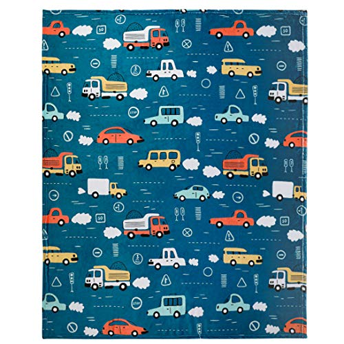 Cars and Trucks Throw Blanket, Adorable Super-Soft Extra-Large Fluffy Cars Blanket Toddler Boys, Kids, and Children, Boys Fleece Blanket (50in x 60in) Warm and Cozy Throw for Bed, Crib or Couch