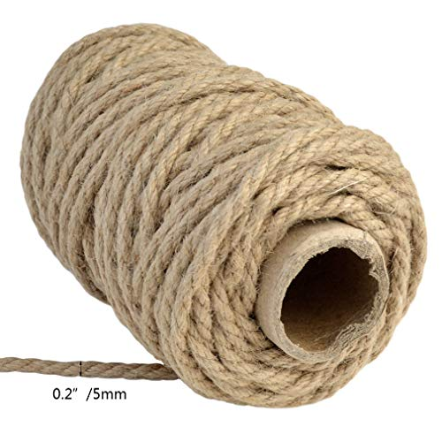 Topbuti 5mm Natural Jute Twine 100 Feet Braided Jute Rope, Crafting Twine String Thick Twine for DIY Artwork, Christmas Twine, Gift Wrapping, Gardening Applications Photo #5
