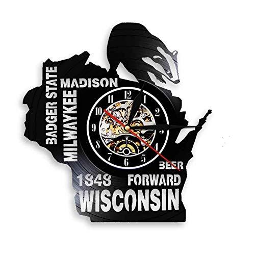 CHENs Me Encanta Wisconsin Badger State Beer Wall Decor Reloj De Pared Nostálgico Wall Art Milwaykee Madison Reloj De Pared con Disco De Vinilo USA Travel