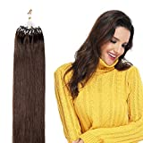 Extension Cheveux Naturel Pose a Froid Anneaux Rajout Naturel Cheveux Humain - 100% Remy Human Hair Extensions Micro Ring (#04 Châtain, 16'/40cm, 50g)