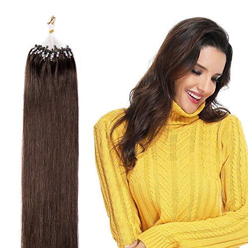 Microring Extensions Echthaar 100 Strähnen Loop Extensions Echthaar Glatt 50g 100% Remy Echthaar Haarverlängerung 40cm #4 Schokobraun