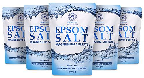 Epsom Sal de Baño 5kg - 100% Puro & Natural Epsom Sal - Sulfato de magnesio concentrado - Calmante y alivia los músculos doloridos - Cuidado del cuerpo - Buen cuidado de la piel - Relajante muscular