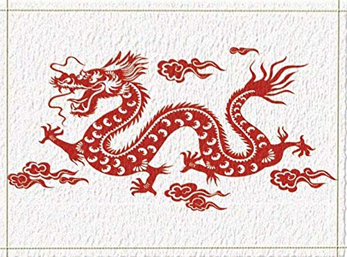 HYTCV White Background, Red Clouds, Red Dragon, Long Beard, Sharp Teeth, Sharp Dragon Claws Bathroom mat outdoor indoor non-slip mat