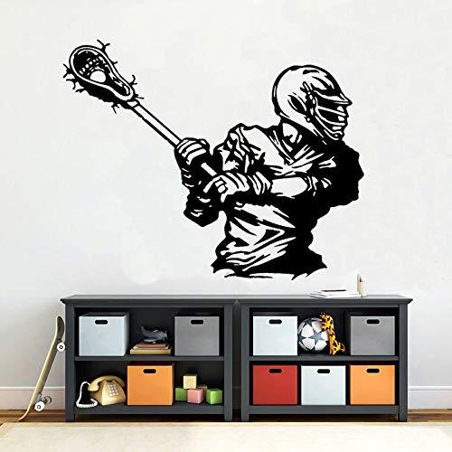 wZUN Sport American Lacrosse Player Wall Sticker Vinile Home Decor Camera dei Bambini Camera da Letto Decal 52X42cm