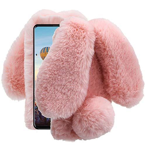 for Samsung Galaxy A51 Case, Aearl Rabbit Fur Ball Case,Luxury Cute 3D Homemade Diamond Winter Warm Soft Furry Fluffy Fuzzy Bunny Ear Plush Pink Phone Case Cover for Girls Women