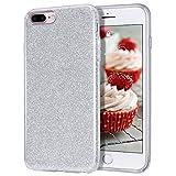 MATEPROX Funda iPhone 7 Plus,Funda iPhone 8 Plus,Glitter Estuche Brillante Antideslizante,Protector para iPhone 7 Plus/8 Plus- Plata