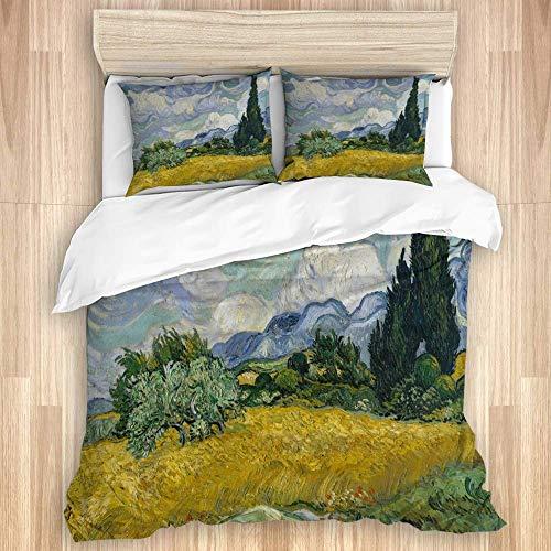 3 Stück Bettbezug-Set, Weizenfeld mit Zypressen 1889 Van Gogh Niederländischer Postimpressionist, Schlafzimmer Luxus-Mikrofaser-Daunendecke Quilt Cover Sets, Tagesdecke mit Reißverschluss & 2 Kissen