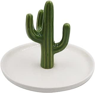 SOCOSY Cute Ceramic Cactus Ring Holder Jewelry Holder Trinket Tray Ring Dish for Earring Bracelet Keys Necklace Wedding Birthday Gift